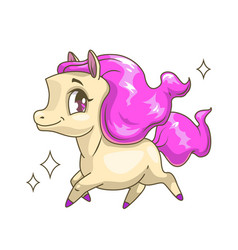 little cute running horse with pink hair vector image