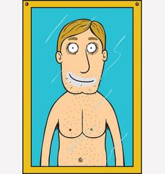 Man shaving vector