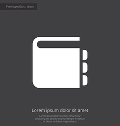 Notepad premium icon white on dark background vector