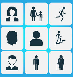 People icons set collection of gentleman family vector