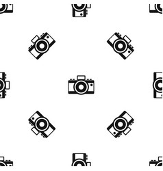 Photocamera pattern seamless black vector