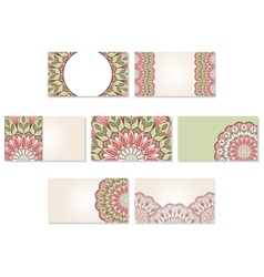 Set of ornamental business cards vector image vector image