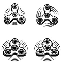 Set of the hand spinner icons isolated on white vector
