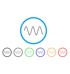 Sinusoid waves rounded icon vector