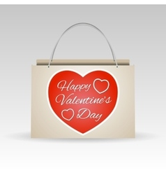 Valentines day red paper shopping bag vector