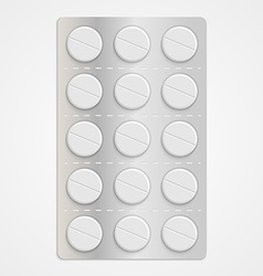 White realistic medical pills in blister pack vector