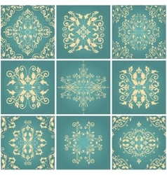 Abstract damask patterns set vector