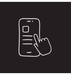 Finger touching smartphone sketch icon vector
