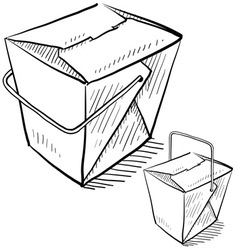 Doodle chinese takeout box vector