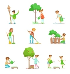 Children helping in eco-friendly gardening vector