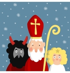 Cute saint nicholas with devil angel and falling vector
