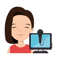 Woman cartoon speak microphone vector
