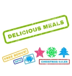Delicious meals rubber stamp vector
