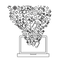 grayscale contour with laptop and internet icons vector image