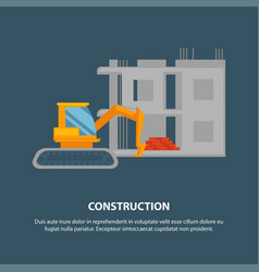 home construction with yellow excavator graphic vector image