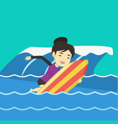 Happy surfer in action on a surf board vector