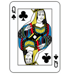 Queen of clubs french version vector