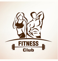 Fitness symbol outlined sketch emblem or label vector