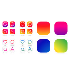 App icon template gradient fresh color set vector