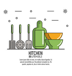 kitchen utensils infographic vector image