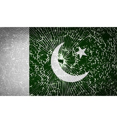 Flags pakistan with broken glass texture vector