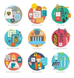 Energy flat icons composition set vector