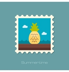 Pineapple flat stamp vector