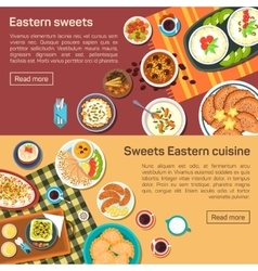 Flat of eastern sweets dishes vector
