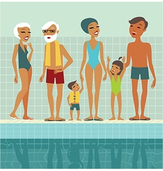 People in swimming pool vector