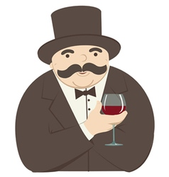 Rich man with a glass of wine vector