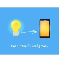 Realization of idea lamp to smart phone vector