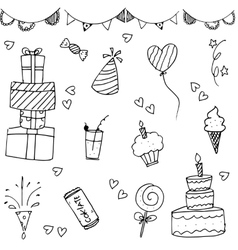 Happy birthday doodle hand drawn vector