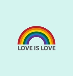 Rainbow icon with word love is lovelgbt support sy vector