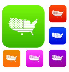 american map set color collection vector image vector image