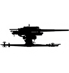 anti aircraft gun silhouette vector image vector image