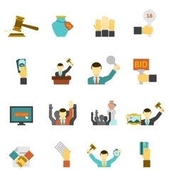 Auction icons set vector