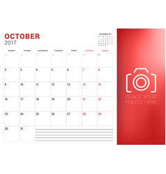 Calendar planner template for october 2017 week vector