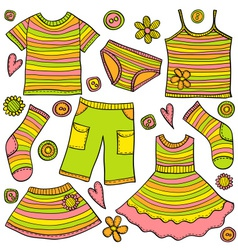 Childrens clothes doodle vector
