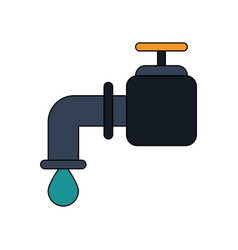 Color image watertap with drop icon vector