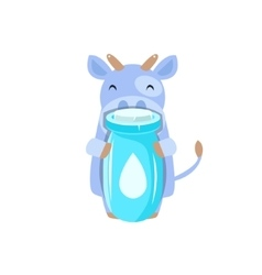Cow holding plastic milk bottle vector