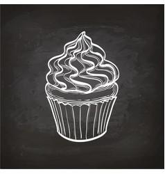 Cupcake sketch on chalkboard vector