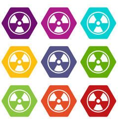 danger nuclear icon set color hexahedron vector image