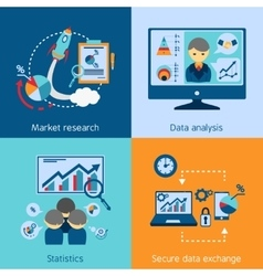 Data analysis 4 flat icons square vector