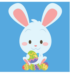 Easter bunny with many egg vector