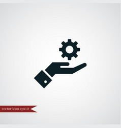 Gear on hand icon simple vector
