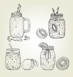 Graphic sketch of different smoothie icons vector