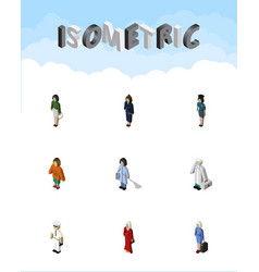 Isometric people set of businesswoman housemaid vector