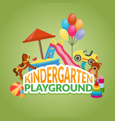Kindergarten playground flat composition vector