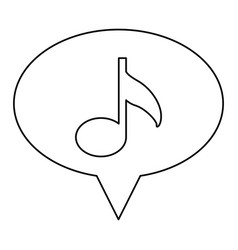 Monochrome contour of oval speech with musical vector