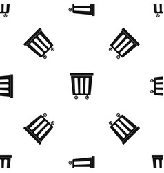 Outdoor plastic trash can pattern seamless black vector